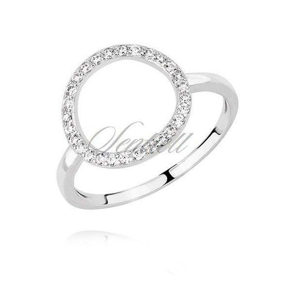 Srebrny okrągły pierścionek pr.925 z cyrkoniami