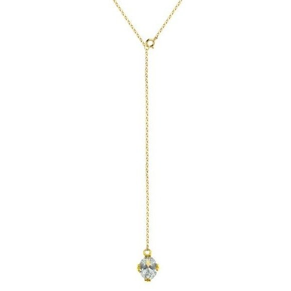 Back necklace with zirconia sterling silver 925 gold-plated