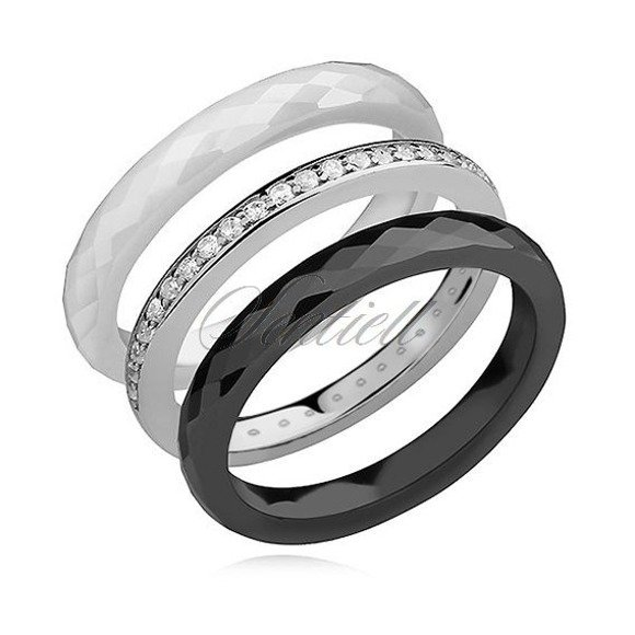 Ceramic white, black rings and silver (925) ring with white zirconia
