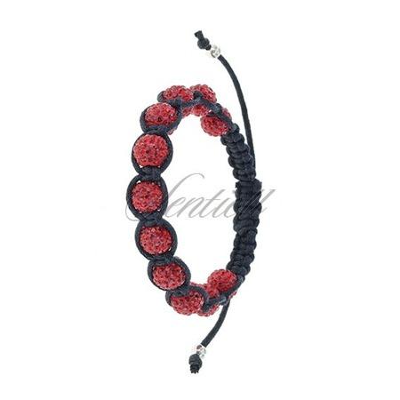 Rope bracelet (925) red 11 disco balls