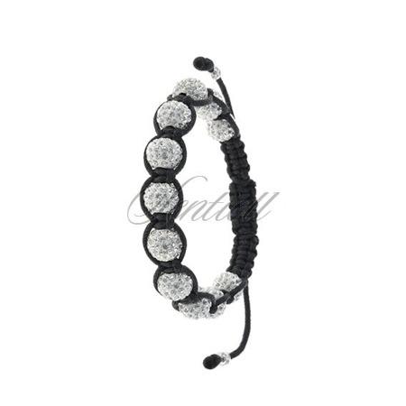 Rope bracelet (925) white 11 disco balls