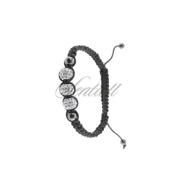 Rope bracelet (925) white & hematite