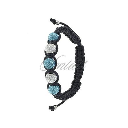Rope bracelet (925) white & light blue 5 disco balls classic