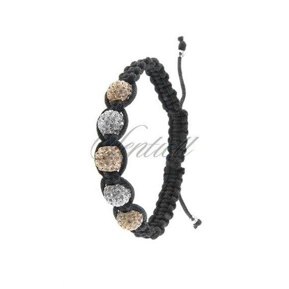 Rope bracelet (925) white & light brown 5 disco balls