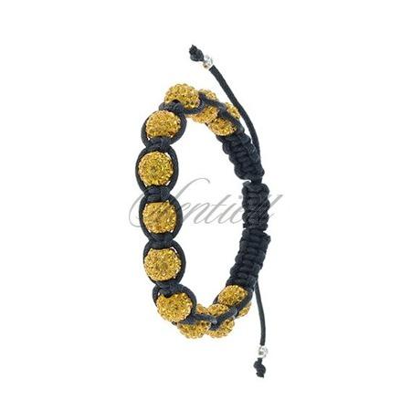 Rope bracelet (925) yellow 11 disco balls