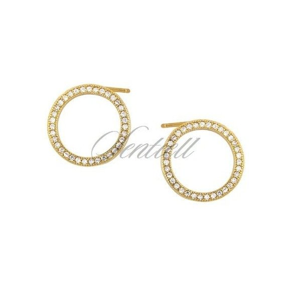 Silver (925) Earrings - cirlces with white zirconia - gold-plated