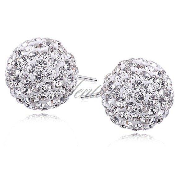 Silver (925) Earrings disco ball 12mm white