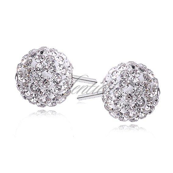Silver (925) Earrings disco ball 8mm white