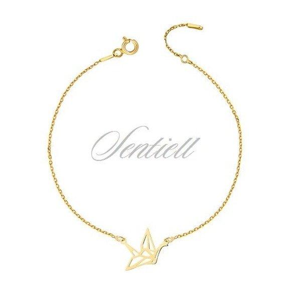 Silver (925) bracelet - Origami dove gold-plated