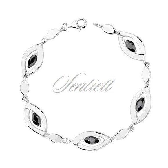 Silver (925) bracelet black zirconia