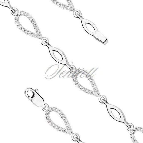 Silver (925) bracelet - tear shape elements with zirconia
