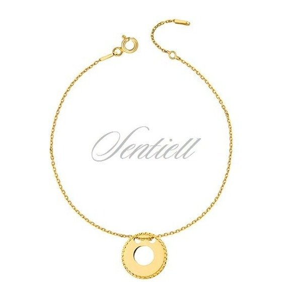Silver (925) bracelet with diamond-cut, round pendant - gold-plated