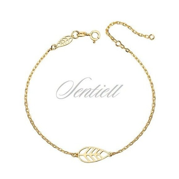 Silver (925) bracelet with gold-plated leafs
