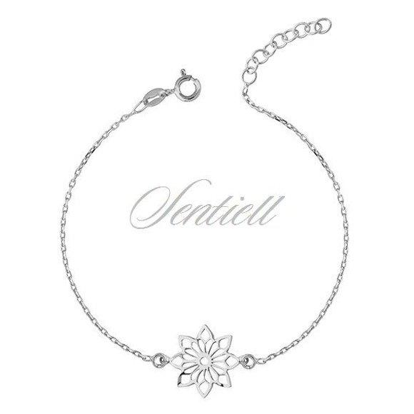 Silver (925) bracelet with open-work flower pendant