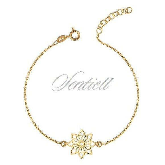 Silver (925) bracelet with open-work flower pendant - gold-plated