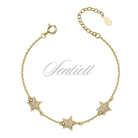 Silver (925) bracelet with stars, gold-plated