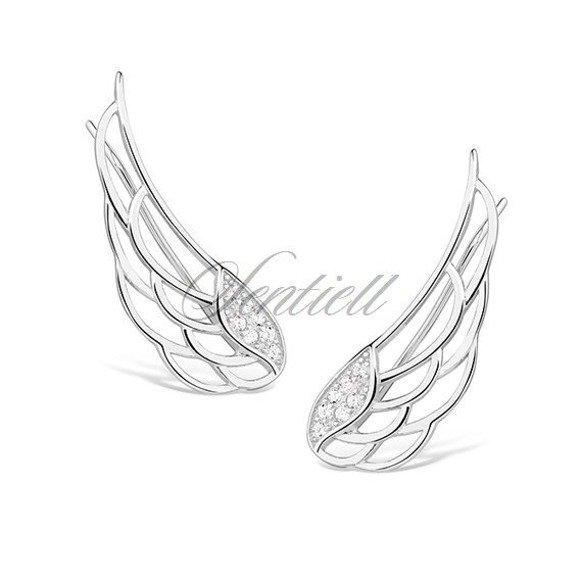 Silver (925) cuff earrings - wings with zirconia