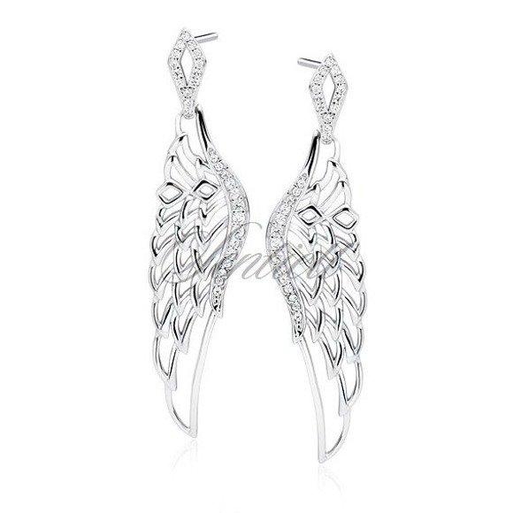 Silver (925) earrings - beautiful wings with zirconia