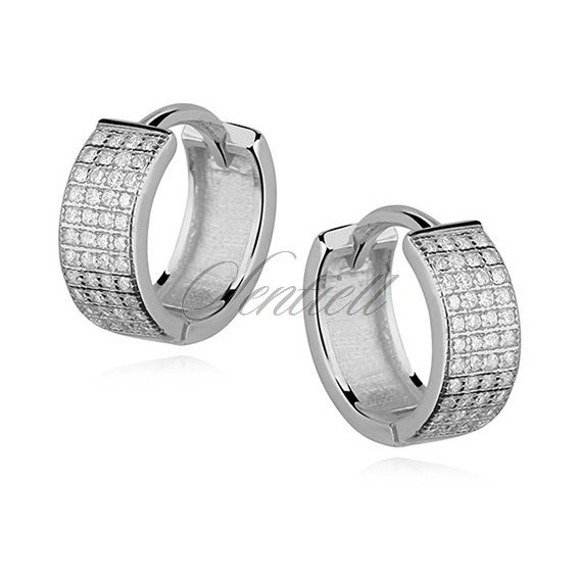 Silver (925) earrings hoop with four rows of zirconia