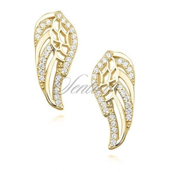 Silver (925) earrings - wings with zirconia - wing gold-plated