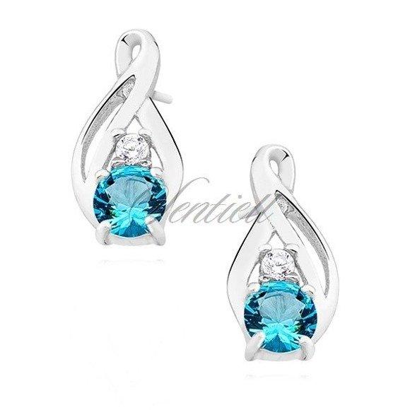 Silver (925) earrings with aquamarine zirconia