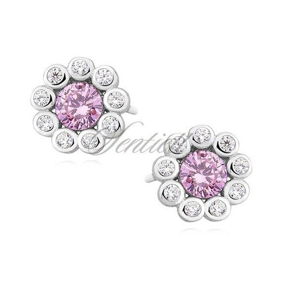 Silver (925) earrings with light pink zirconia