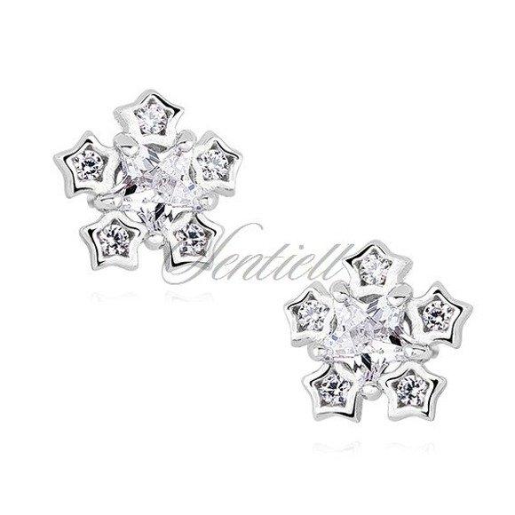 Silver (925) elegant earrings - snowflakes with zirconia