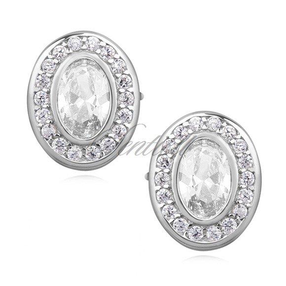 Silver (925) elegant oval earrings with zirconia