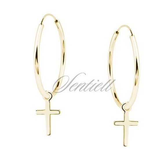 Silver (925) gold-plated earrings hoop with crosses