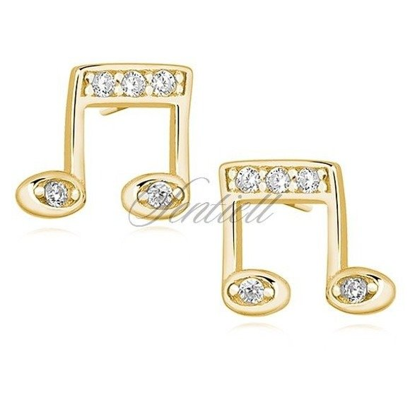 Silver (925) gold-plated note earrings with zirconia