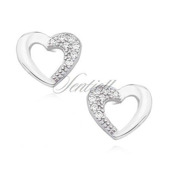 Silver (925) heart earrings with zirconia