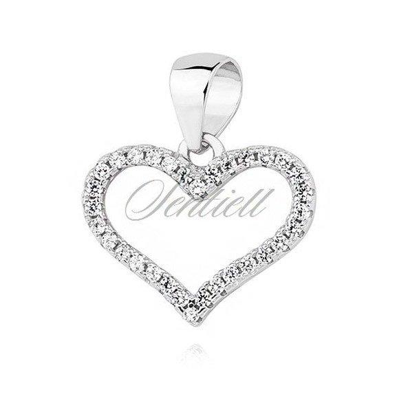 Silver (925) heart pendant with zirconia