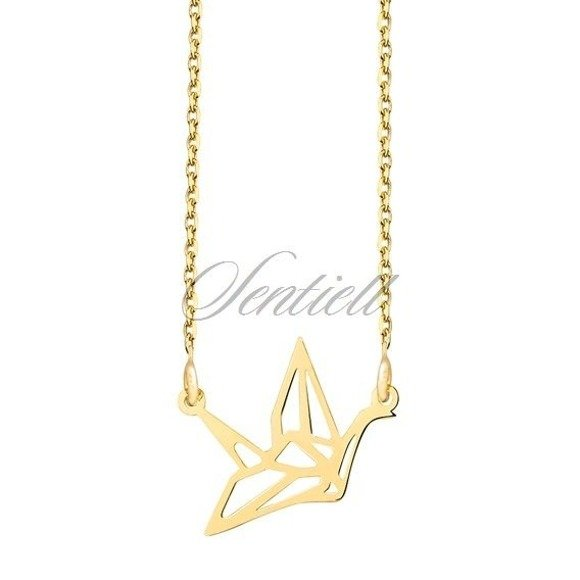 Silver (925) necklace - Origami dove gold-plated