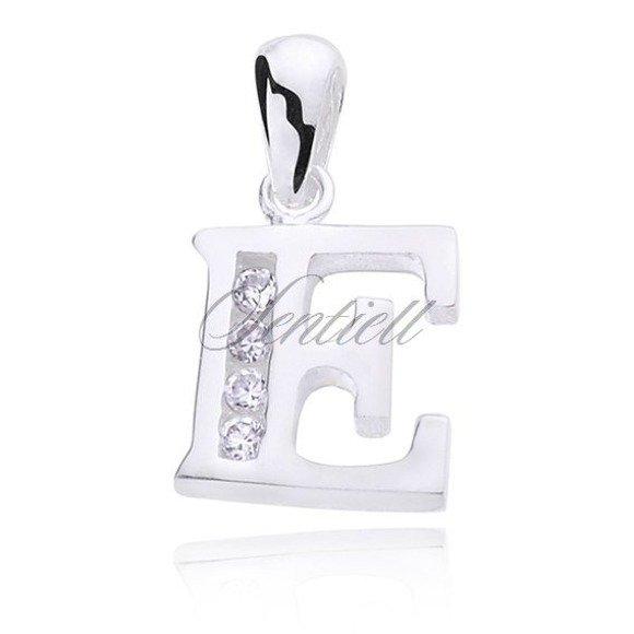 Silver (925) pendant white zirconia - letter E