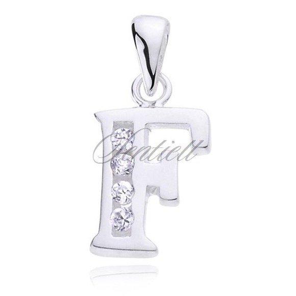Silver (925) pendant white zirconia - letter F