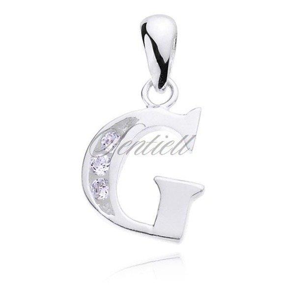 Silver (925) pendant white zirconia - letter G
