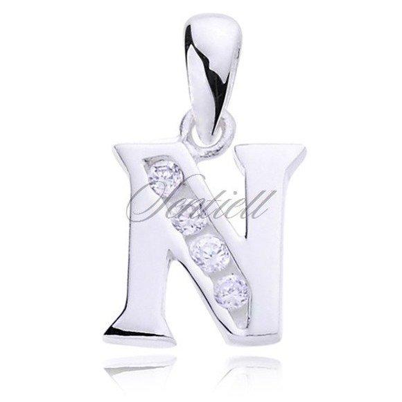 Silver (925) pendant white zirconia - letter N