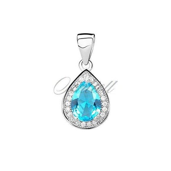 Silver (925) pendant with aquamarine zirconia