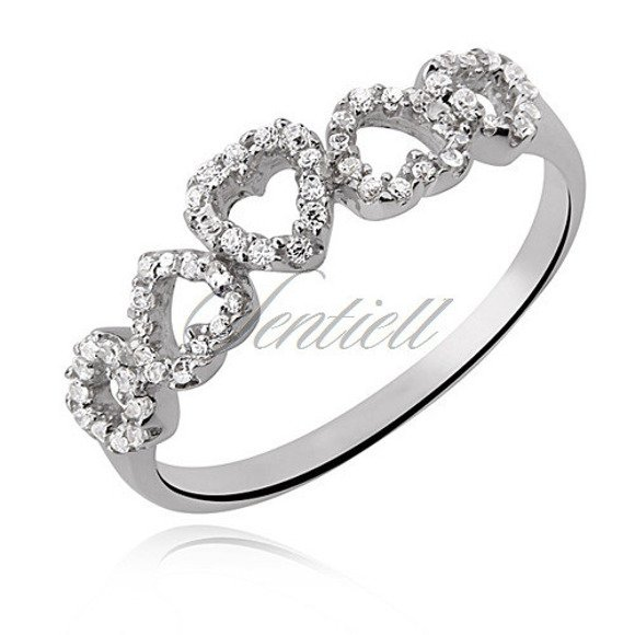 Silver (925) ring white zirconia rhodium plated - hearts