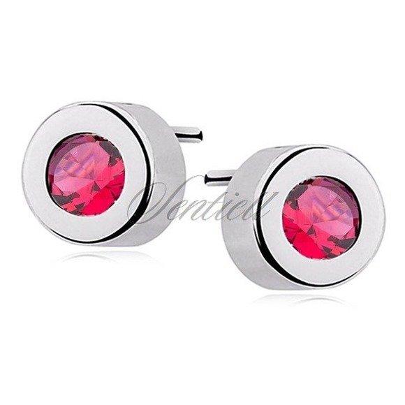 Silver (925) round earrings ruby zirconia