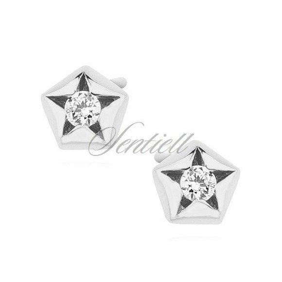 Silver (925) star shape earrings with zirconia