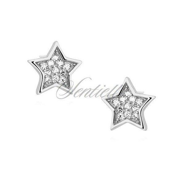Silver (925) stars earrings with zirconia