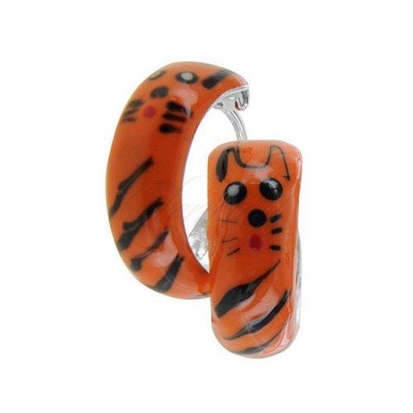Srebrne kolczyki pr.925  koła emaliowane pomarańczowe tygrys nitowane