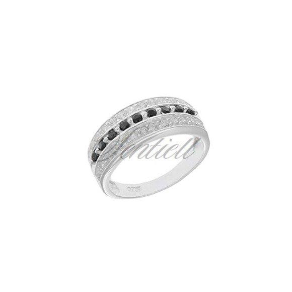 Srebrny pierścionek pr925 Cyrkonia biała i czarna