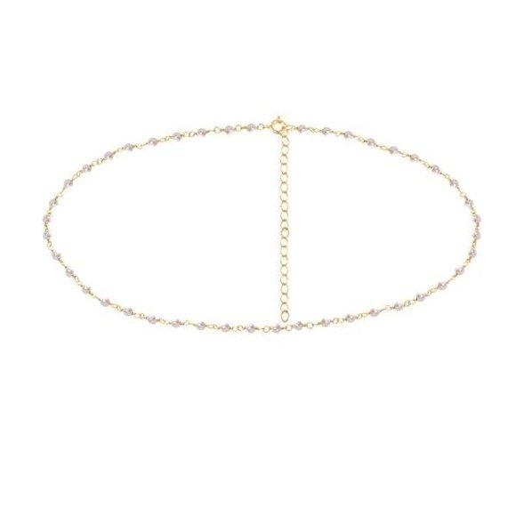 Choker pozłacany z perłami majorka naszyjnik srebro 925