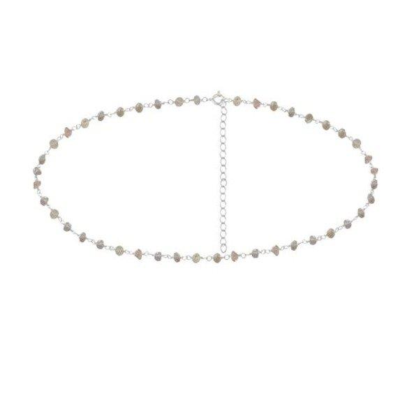Choker srebrny z naturalnymi labradorytami naszyjnik srebro 925