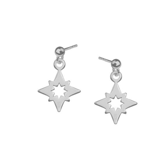 Gwiazda polarna kolczyki srebrne