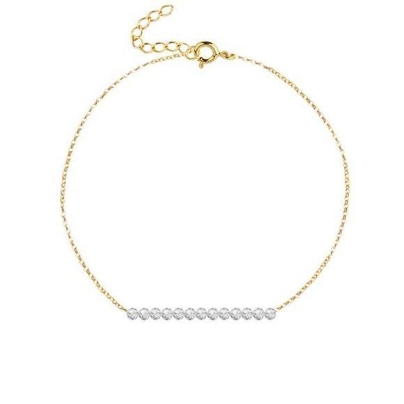 KWIECIEŃ - bransoletka pozłacana z kryształem górskim