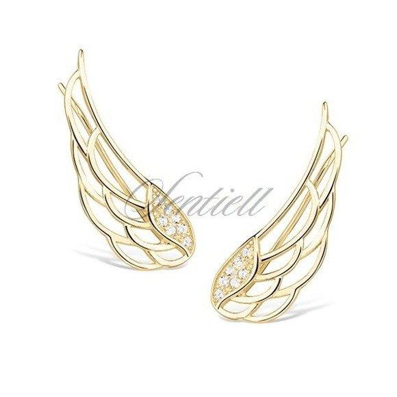 Kolczyki nausznice pozłacane skrzydła anioła z cyrkoniami pr. 925