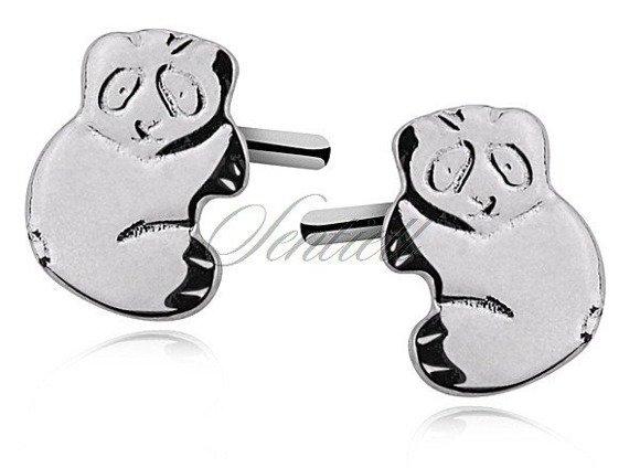 Kolczyki srebrne pr. 925 misie panda